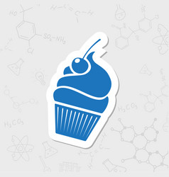 Cupcake with cherry icon vector