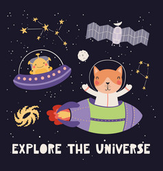 Cute cat astronaut and alien vector