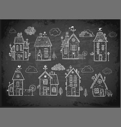 cute doodle houses on blackboard background vector image