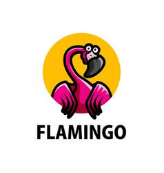 cute flamingo cartoon logo icon vector image