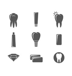 dental hygiene icon set vector image