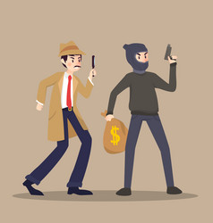Detective and thief in different character on vector