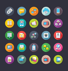 digital network and communications flat icons set vector image