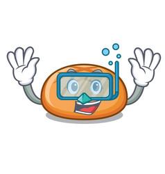 Diving hamburger bun character cartoon vector