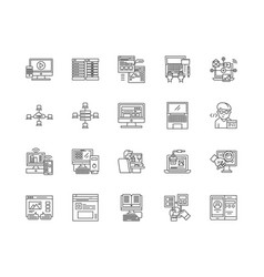 Domain line icons signs set outline vector