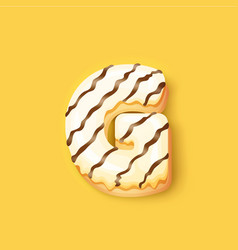 Donut icing white upper latter - g font donuts vector