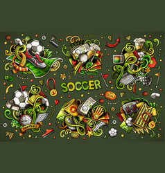 doodles cartoon set of football vector image