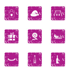 Eve party icons set grunge style vector