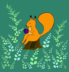Fantasy squirrel sitting on a stump in the woods vector