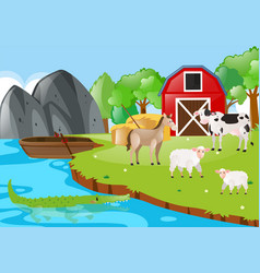 Farm scene with animals by the river vector