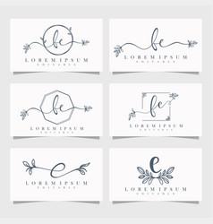 feminine floral logo editable vector image