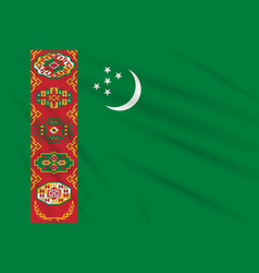 Flag turkmenistan swaying in the wind realistic vector