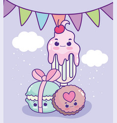 Food cute milkshake cookie and macaroon decoration vector