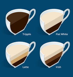 Four isometric cups of coffee in a cut tripplo vector