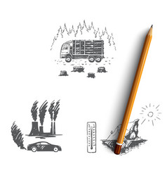 Global warming - factory pollution vector