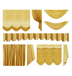 golden stage curtains realistic interior luxury vector image