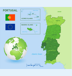 green political map portugal vector image