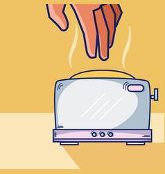 Hand grabbing toaster vector