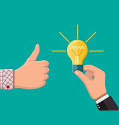 hand with idea bulb other hands showing thumbs up vector image