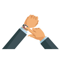 Hands business man with smart watch wearable vector