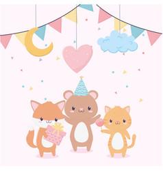 Happy birthday animals gift balloon cloud moon vector