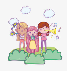 Happy childrens day band musical kids with vector
