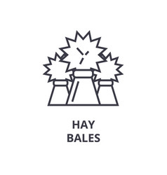 hay bales line icon outline sign linear symbol vector image