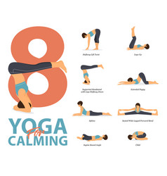 Infographic 8 yoga poses for calming vector