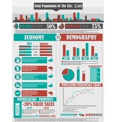 INFOGRAPHICS CITY RED vector image