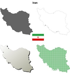 Iran outline map set vector