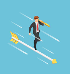 isometric businessman with telescope standing on vector image