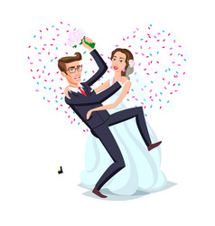Just married funny couple bride and groom dance vector