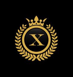 letter x crown logo vector image