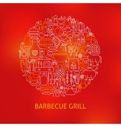 Line Barbecue Grill Icons Circle Concept vector image