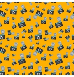 Lomography film camera on orange background vector image