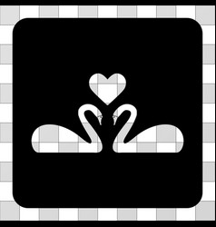 Love swans rounded square vector