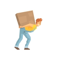 Mover carrying a large box on his back delivery vector