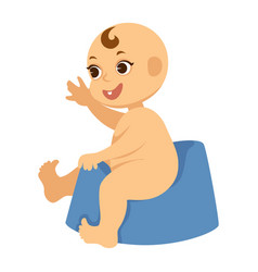 Naked baby boy with one tooth on blue plastic vector