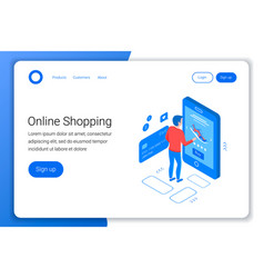 Online shopping isometric concept vector