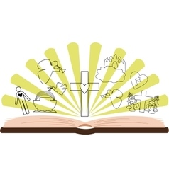 Open Bible with different pictures and rays vector