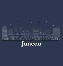 Outline juneau alaska city skyline with white vector
