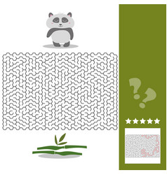 panda maze game - help hungry panda find right way vector image