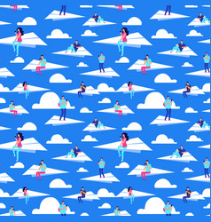 people flying on paper planes seamless vector image