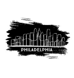 philadelphia city skyline silhouette hand drawn vector image