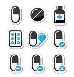 Pills medication icons set vector