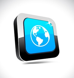 Planet 3d square button vector image vector image
