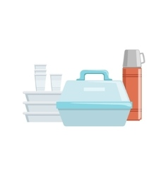 Plastic Containers And Water Thermos Set Of vector