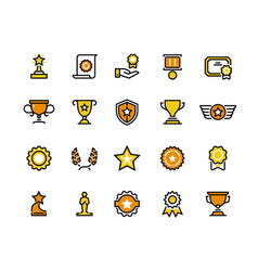 prize line icons trophy medal and winner cup vector image