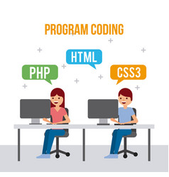 Program coding girl and boy web development vector