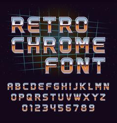 retro 80s chrome font vector image